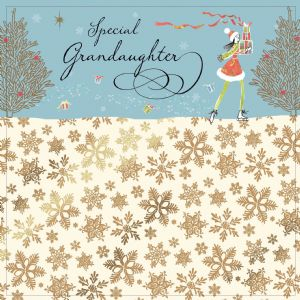 Grandaughter Christmas Card with Gold Foiling, Contemporary Design and Red Envelope KIS24